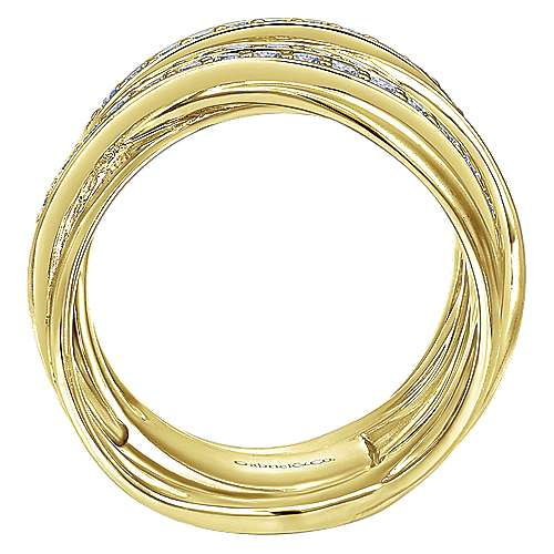 14k Yellow Gold Lusso Wide Band Ladies' Ring angle 2