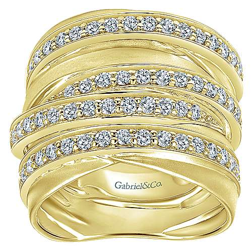 14k Yellow Gold Lusso Wide Band Ladies' Ring angle 4