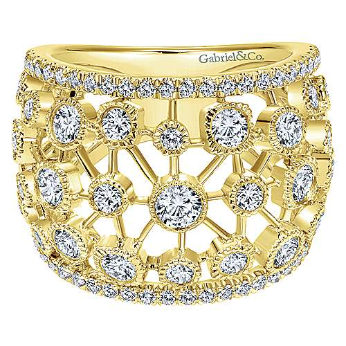 Gabriel - 14k Yellow Gold Lusso Wide Band Ladies' Ring