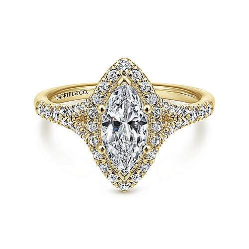 Gabriel - 14k Yellow Gold Marquise  Halo Engagement Ring