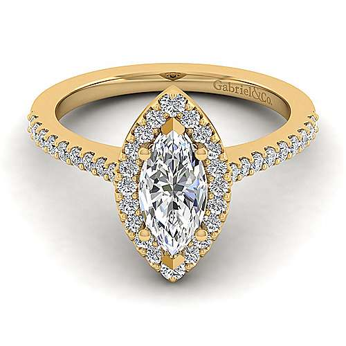 14k Yellow Gold Marquise  Halo Engagement Ring angle 1