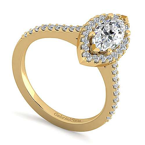 14k Yellow Gold Marquise  Halo Engagement Ring angle 3