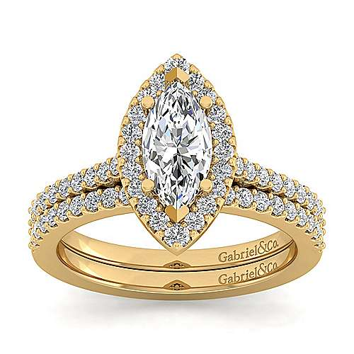 14k Yellow Gold Marquise  Halo Engagement Ring angle 4
