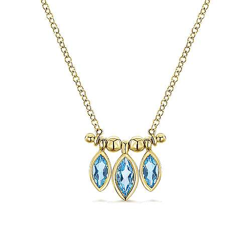 14k Yellow Gold Marquise Cut Swiss Blue Topaz Curved Bar Necklace