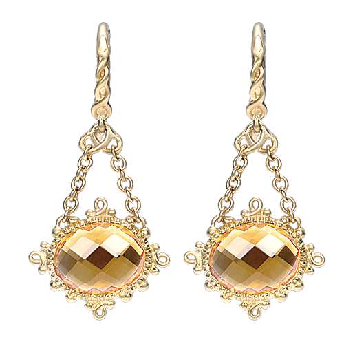 14k Yellow Gold Mediterranean Drop Earrings angle 1