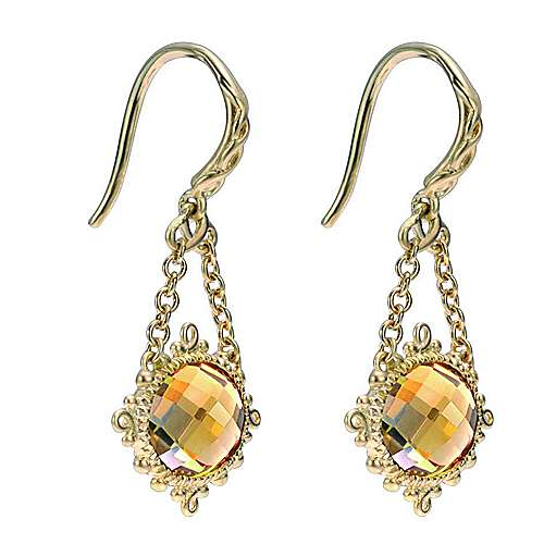 14k Yellow Gold Mediterranean Drop Earrings angle 2