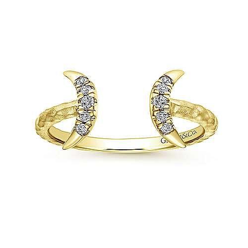 14k Yellow Gold Midi Ladies' Ring angle 4