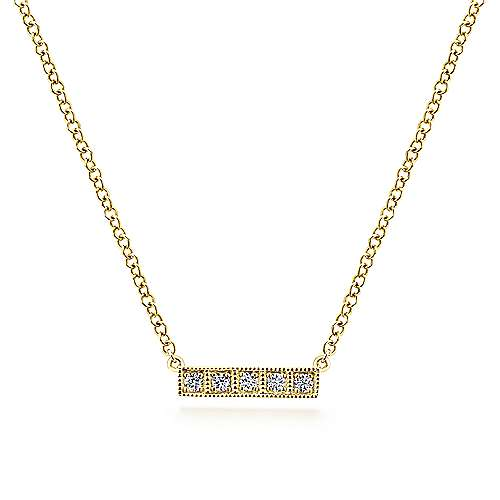 Gabriel - 14k Yellow Gold Milgrain Diamond Bar Necklace