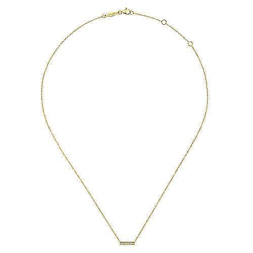 14k Yellow Gold Milgrain Diamond Bar Necklace