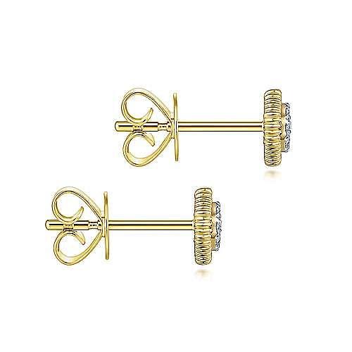 14k Yellow Gold Octagonal Pave Diamond Stud Earrings