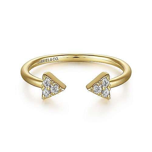 14k Yellow Gold Open Diamond Arrow Stackable Ladies' Ring