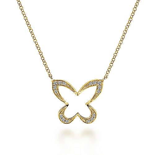 14k Yellow Gold Open Diamond Butterfly Necklace