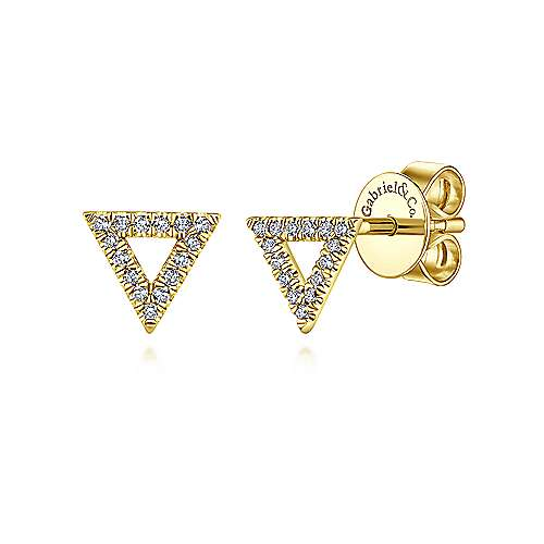Gabriel - 14k Yellow Gold Open Triangle Diamond Stud Earrings