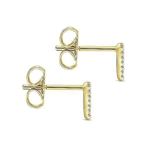 14k Yellow Gold Open Triangle Diamond Stud Earrings