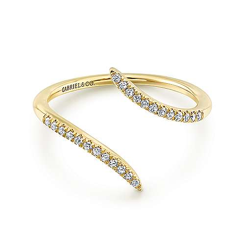 Gabriel - 14k Yellow Gold Open Wrap Pave Diamond Ladies Fashion Ring