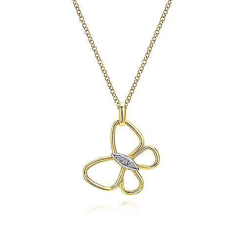 14k Yellow Gold Openwork Butterfly Necklace