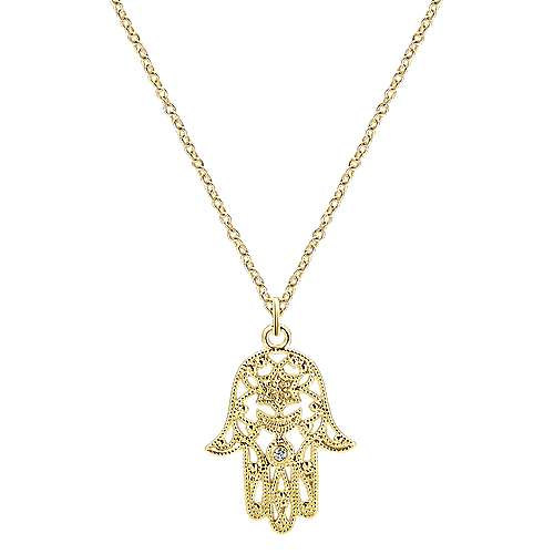 14k Yellow Gold Openwork Round Diamond Hamsa Necklace