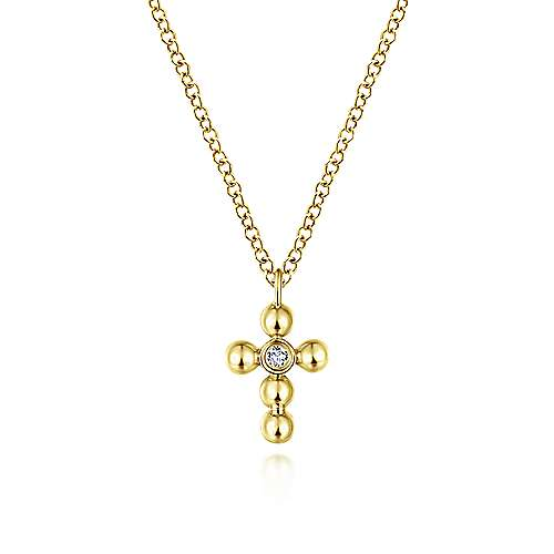 Gabriel - 14k Yellow Gold Orb Diamond Cross Necklace