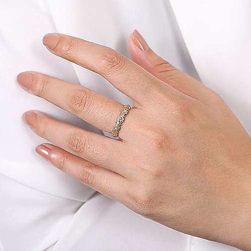 14k Yellow Gold Ornate Contoured Stackable Diamond Ring