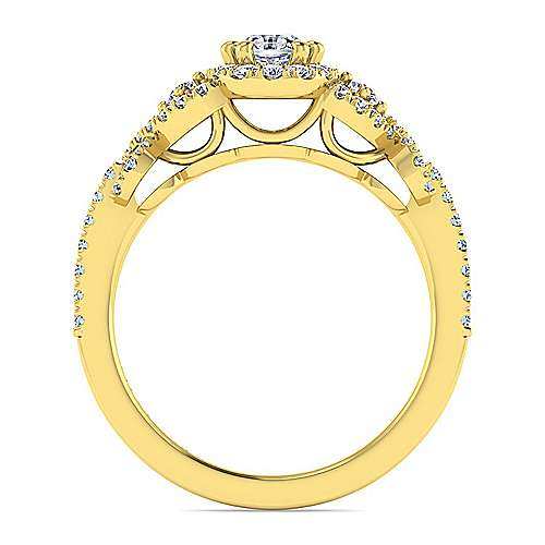 14k Yellow Gold Oval Halo Engagement Ring angle 2