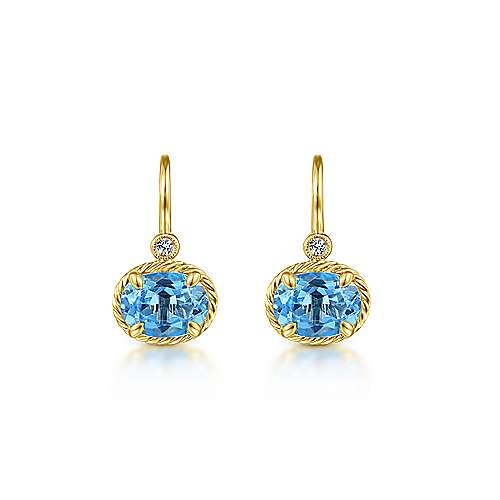 14k Yellow Gold Oval Swiss Blue Topaz & Diamond Drop Earrings