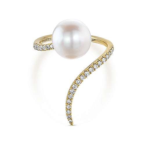 14k Yellow Gold Pave Diamond & Cultured Pearl Ladies Fashion Wrap Ring