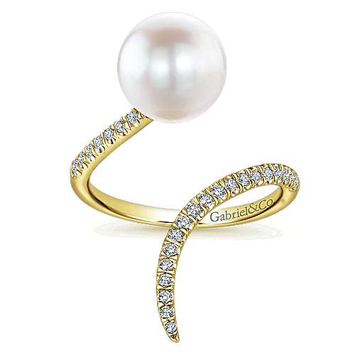 14k Yellow Gold Pave Diamond & Cultured Pearl Ladies Ring