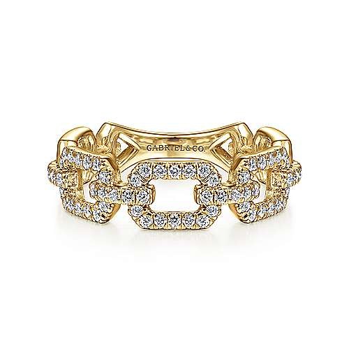 Gabriel - 14k Yellow Gold Pave Diamond Chain Link Stackable Ring