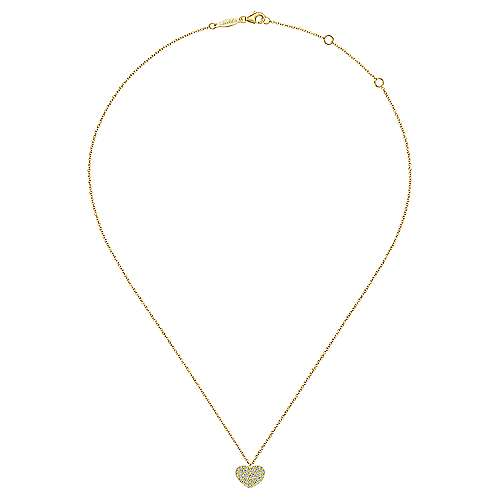 14k Yellow Gold Pave Diamond Encrusted Heart Necklace