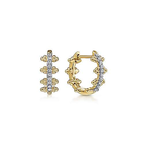 14k Yellow Gold Pave Diamond Huggie Earrings