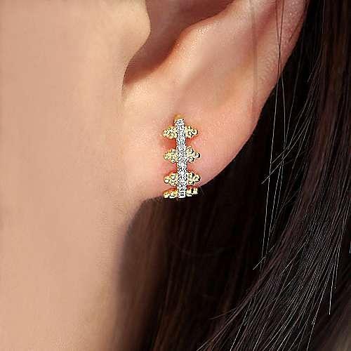 14k Yellow Gold Pave Diamond Huggie Earrings