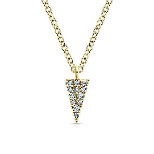 14k Yellow Gold Pave Triangle Fashion Necklace