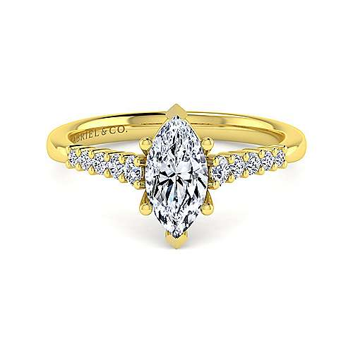 14k Yellow Gold Pear Shape Halo Engagement Ring angle 1