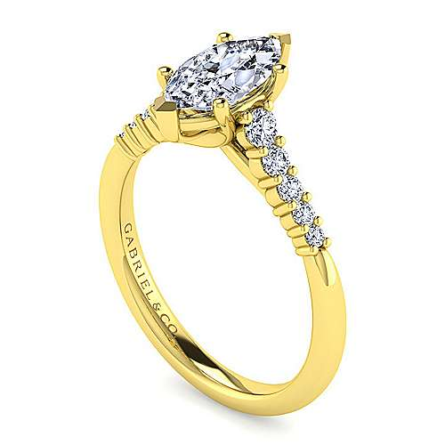 14k Yellow Gold Pear Shape Halo Engagement Ring angle 3