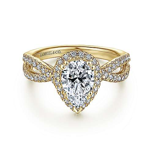 14k Yellow Gold Pear Shape Twisted Engagement Ring