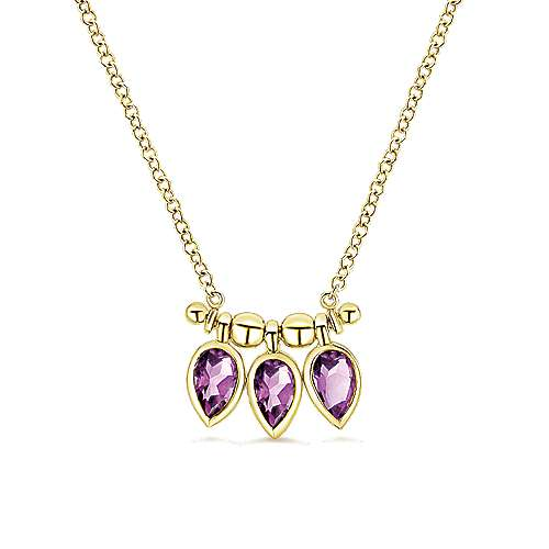 7cffde53a 14k Yellow Gold Pear Shaped Amethyst Trio Necklace