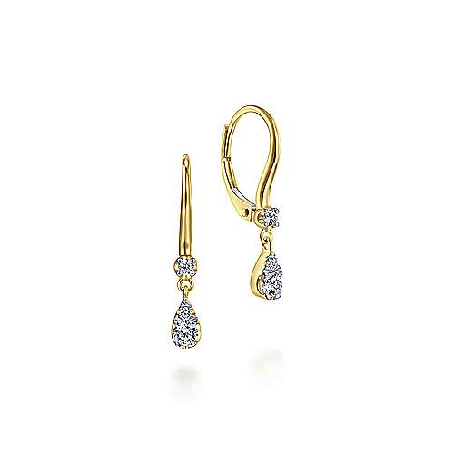 14k Yellow Gold Pear Shaped Pave Diamond Drop Earrings
