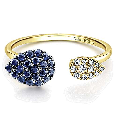 14k Yellow Gold Pear Shaped Sapphire & Diamond Cluster Ladies Ring
