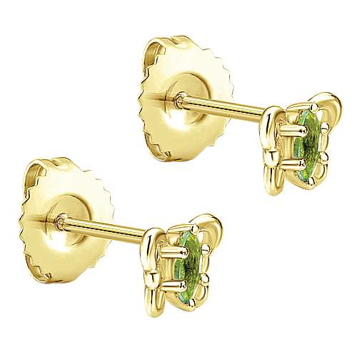 14k Yellow Gold Peridot Butterfly Stud Earrings