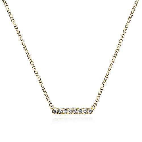 14k Yellow Gold Petite Pave Diamond Bar Necklace