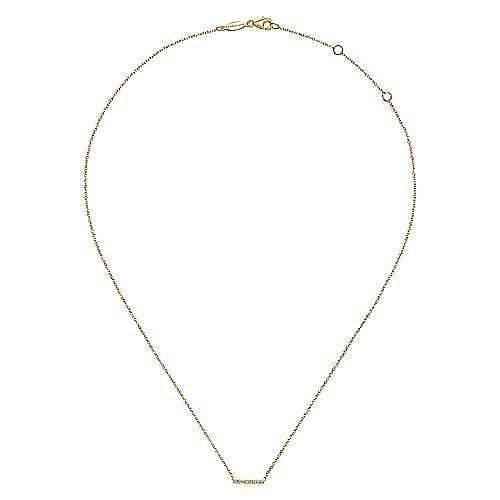 14k Yellow Gold Petite Pave Diamond Bar Necklace