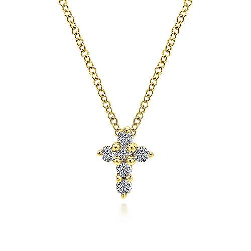 Gabriel - 14k Yellow Gold Polished Chain Faith Cross Necklace