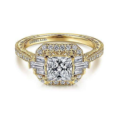 Gabriel - 14k Yellow Gold Princess Cut Straight Engagement Ring