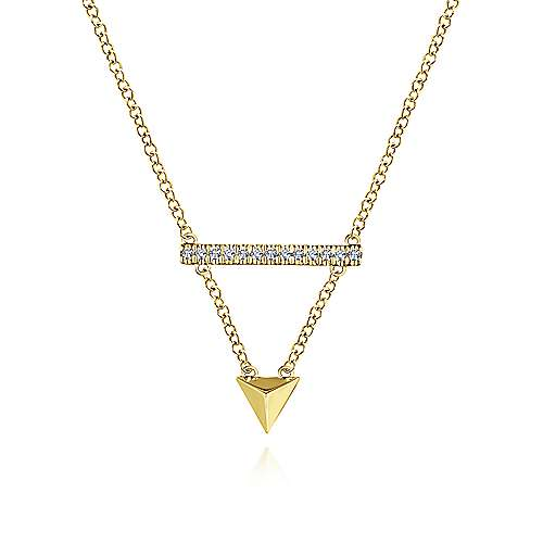 14k Yellow Gold Pyramid Diamond Bar Necklace