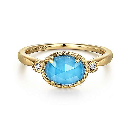Gabriel - 14k Yellow Gold Rock Crystal & Turquoise Diamond Accented Ladies Fashion Ring