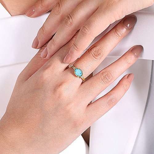 14k Yellow Gold Rock Crystal & Turquoise Diamond Accented Ladies Fashion Ring