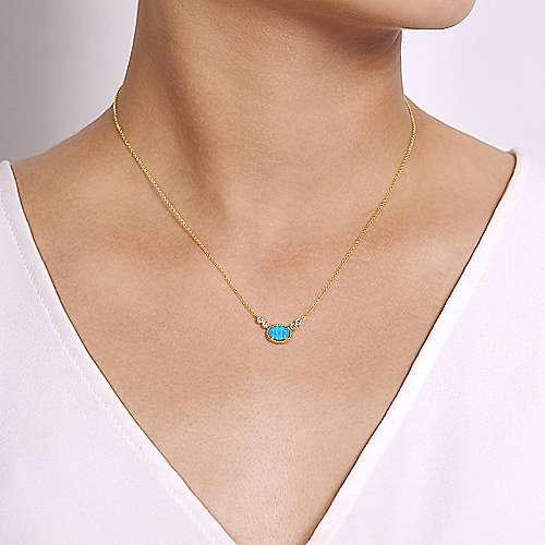 14k Yellow Gold Rock Crystal & Turquoise Diamond Fashion Necklace