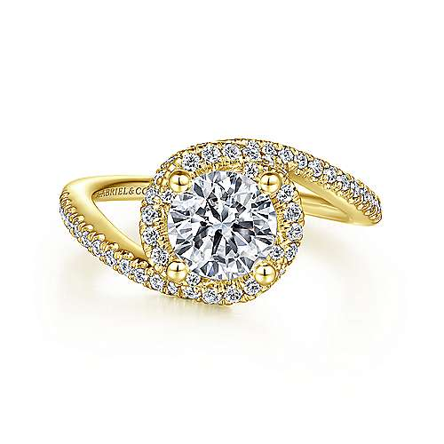 Gabriel - 14k Yellow Gold Round Bypass Engagement Ring