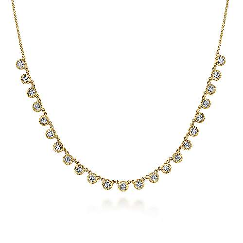 Gabriel - 14k Yellow Gold Round Diamond Choker Necklace