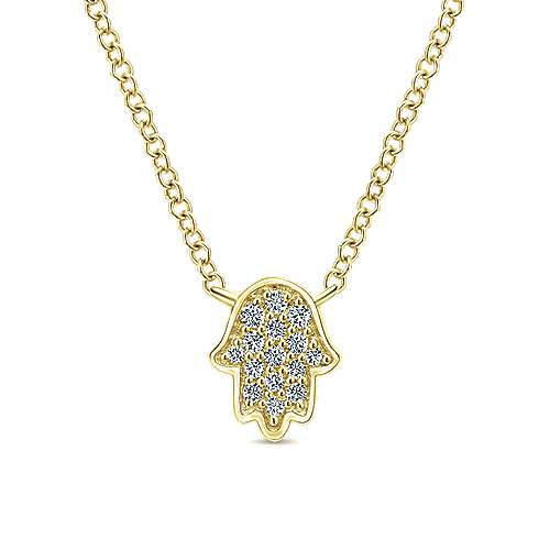 14k Yellow Gold Round Diamond Hamsa Necklace